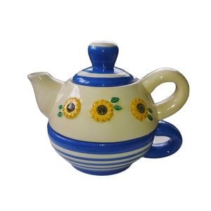 MSRF, Inc Ceramic Teapot with Cup, Sunflowers